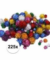 Multi kleur decoratieve pompons met glitters 15 40 mm 10107820