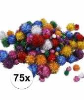 Multi kleur decoratieve pompons met glitters 15 40 mm