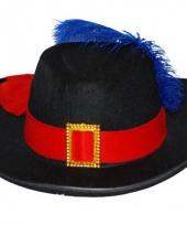 Musketier hoed met band en veer