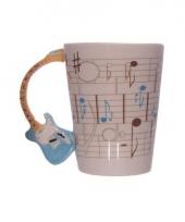 Muzieknoten mok blauw