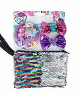 My little pony pailletten tasje met spiegel en haarclips voor meisjes