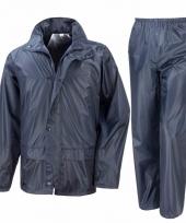 Navy blauw alle seizoenen regenpak voor volwassenen