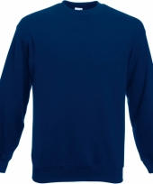 Navy blauwe fruit of the loom sweater ronde hals