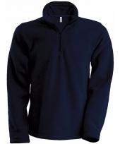 Navy fleece trui voor heren met ritskraag