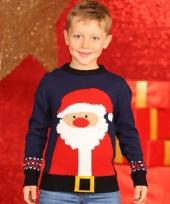 Navy kerstmis trui met kerstman voor kids