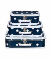 Navy koffertje met witte stip 30 cm