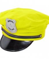 Neon gele politie cap