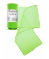 Neon groene organza strook 12 x 300 cm