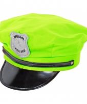 Neon groene politie cap