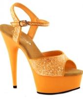 Neon oranje glitter sandalen