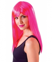 Neon roze damespruik passion