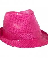 Neon roze gleufhoed met pailletten