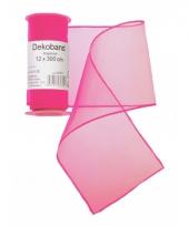 Neon roze organza strook 12 x 300 cm