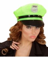 Neongroene politie pet voor volwassenen
