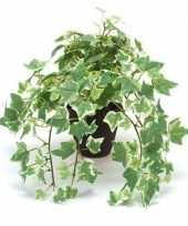 Nep klimop plant groen wit in zwarte pot kunstplant 10143800