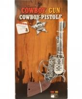 Nep pistool cowboy zilver met ster