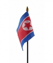 Noord korea luxe zwaaivlaggetje polyester