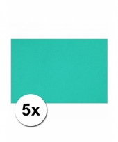 Oceaan blauw knutsel karton a4 5 stuks