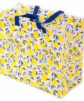 Opbergen speelgoed tas zak met citroen print 55 x 48 cm