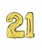 Opblaas 21 jaar ballonnen goud