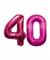 Opblaas 40 jaar ballonnen roze
