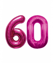 Opblaas 60 jaar ballonnen roze