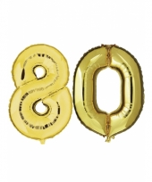 Opblaas 80 jaar ballonnen goud