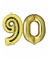 Opblaas 90 jaar ballonnen goud