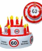 Opblaas taart 60 jaar met verkeersbord