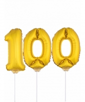 Opblaasbare cijfer 100 goud 41 cm
