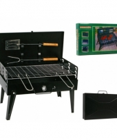 Opvouwbare barbecue koffer met accessoires 43 x 26 cm