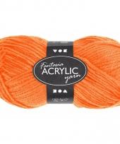 Oranje acryl 3 draads garen 80 meter