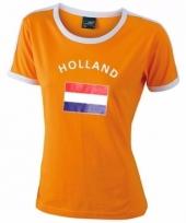 Oranje dames shirtje met holland vlag 10048912