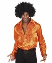 Oranje disco blouse voor heren
