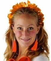 Oranje hawaiikransen bloemenkransen tiara voor dames