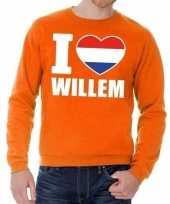 Oranje i love willem sweater volwassenen