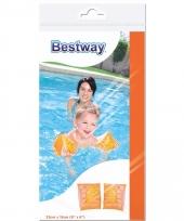 Oranje opblaas zwembandjes met dolfijn print 25 cm