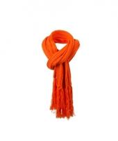 Oranje sjaal extra lang voor volwassenen 2 m