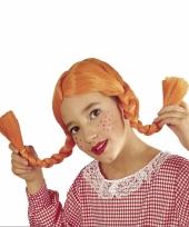 Oranje sterk zweeds meisje pruik voor kinderen