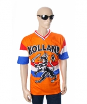 Oranje t-shirt met hollandse leeuw en hollandse vlag