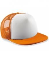 Oranje witte vintage baseball cap voor kinderen