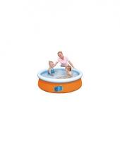 Oranje zwembad met opblaas rand
