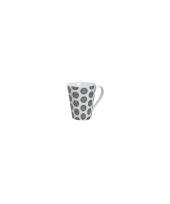 Originele retro style koffiemok rondjes wit 250 ml
