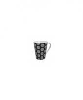 Originele retro style koffiemok rondjes zwart 250 ml