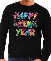 Oud en nieuw trui sweater happy new year zwart voor heren