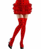 Over knee kousen rood met zwart