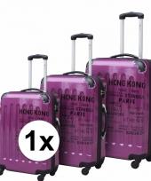 Paarse bagage rolkoffer met cijferslot 69 cm