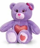 Paarse beer met rood hart zittend 25 cm