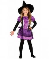 Paarse heksen verkleedkleding voor meiden
