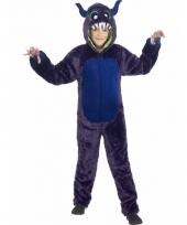 Paarse monster onesie voor kinderen
